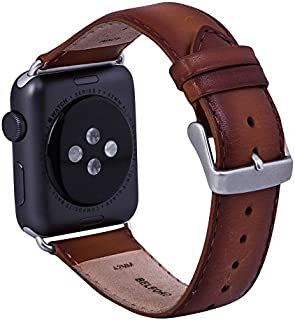 BELFORD Leather Band Compatible with 42 mm Watch Band for Apple iWatch Vegetable Tanned Hand Coloured Leather Strap Replacement Hypoallergenic Band with Stainless Metal Clasp for Apple Series 4 3 2 1