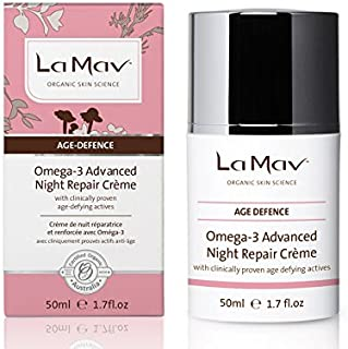 La Mav Night Cream For All Skin Types - With Anti Aging Hyaluronic Acid, Peptides, Omega-3 - Natural, Organic, Vegan, Firm...