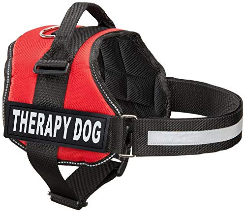Industrial Puppy Therapy Dog Harness with Hook and Loop Straps and Handle - Harnesses in 7 Sizes from XXS to XXL - Therapy Dog in Training Vest Features Reflective Therapy Dog Patch (Red, XS)