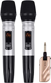 Adaskala UX2 UHF Dual-Frequency Wireless Microphones Set with 1 Receiver 2 Handheld Microphone for DJ Party Karaoke Busine...