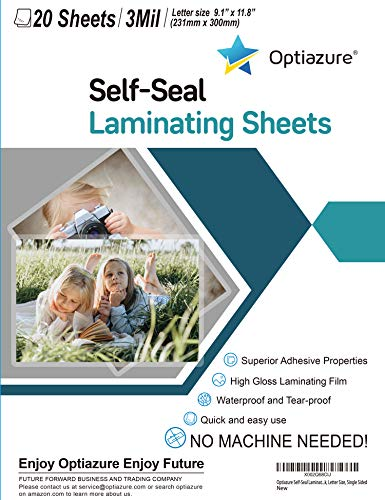 """Optiazure Self-Seal Laminating Sheets 9.1""""x11.8"""" Inches, 3mil 20Pack, Letter Size, Single Sided"""