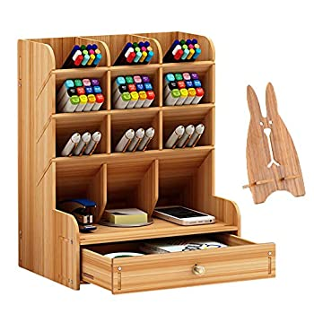 Marbrasse Wooden Pen Organizer Multi-Functional DIY Pen Holder Box Desktop Stationary Easy Assembly Home Office Art Supplies Organizer Storage with Drawer  B11-Cherry Color