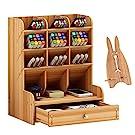 Marbrasse Wooden Desk Organizer, Multi-Functional DIY Pen Holder Box, Desktop Stationary, Easy Assembly,Home Office Supply Storage Rack with Drawer (B11-Cherry Color)