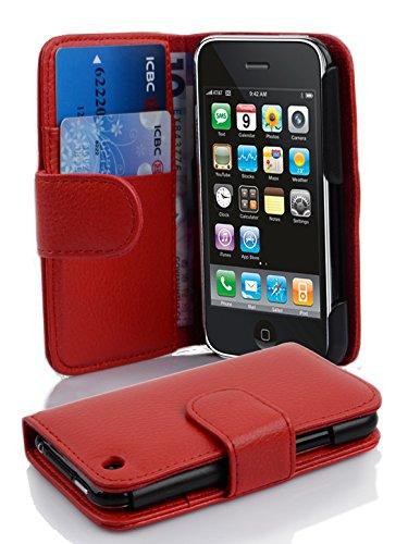 Cadorabo Custodia Libro per Apple iPhone 3 / iPhone 3GS in Rosso Cremisi - con Vani di Carte e Funzione Stand di Similpelle Strutturata - Portafoglio Cover Case Wallet Book Etui Protezione