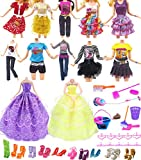 Hey~Yo Ropa de Muñeca para Barbie, 11.5 'Accesorios de Muñeca 41 Piezas Incluidas 2 Vestido de Fiesta+10 Ropa de Moda Casual+10 Suspensión+10 Zapatos +9 Herramientas de Limpieza