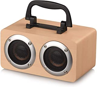 Docooler Portable Bluetooth 4.2 Speaker Wooden Player Stereo Surround Player Double Horn Built-in 1200mAh Battery with TF ...