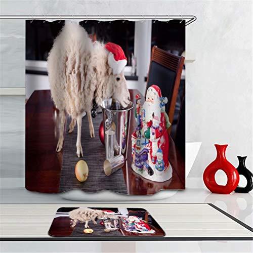 Santa. Schaf. Apfel.Duschvorhang: 180X180 cm. Matten: 40X60 cm. Wasserdicht. Schnell Trocknend. Mit Haken. Badezimmer-Kombinationsvorhangset