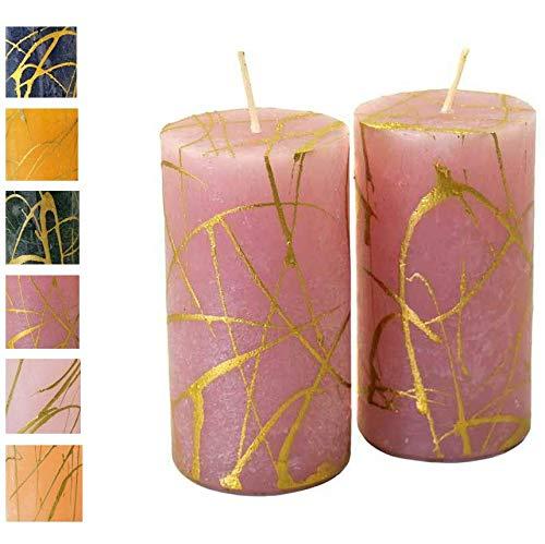 Candele dell'Avvento con motivo dorato, 2 pezzi, superficie rustica, candele, candele, Natale, corona dell'Avvento (rosa anticato, altezza: 11 cm, diametro: 6 cm, 2 pezzi)