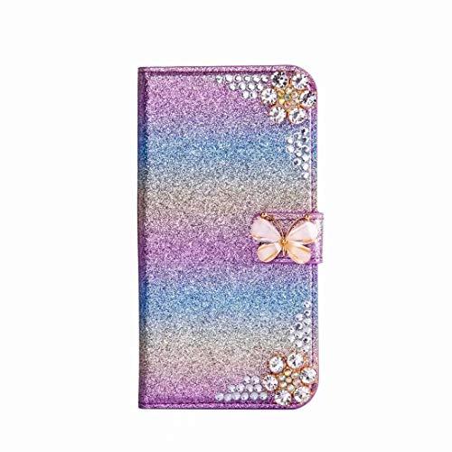 Handytasche Kompatibel für iPhone 7 Plus, iPhone 8 Plus Blume Diamant Strass Bling Glitzer Handyhülle Hülle Case Leder Tasche Flipcase Cover Silikon Schutzhülle Skin Ständer Klapphülle Schale Bumper