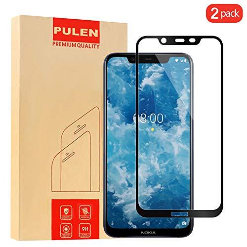 PULEN [2 Pack Nokia 8.1 Pellicola Protettiva, in Vetro Temperato Premium 9H Protezione Scratch Resistente [Ultra-Clear][Anti-Impronte] [Senza Bolle]per Nokia 8.1 (Nero)