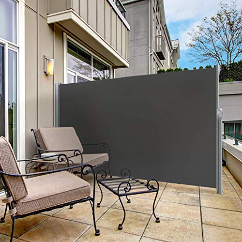 """sunseen Side Awning Retractable Patio Awning Folding Screen Fence Privacy Wall Corner Divider Indoor Room Divider Garden Outdoor Sun Shade Wind Screen with Steel Pole (L 118"""" x H 71"""", Dark Grey)"""