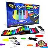 MUKIKIM Rock and Roll It - The Original Rainbow Piano. Play-by-Color Songbook Included! Flexible, Completely Portable, 49 Standard Keys, Battery or USB Powered.