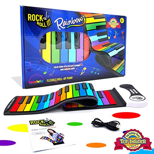 MUKIKIM Rock and Roll It - The Original Rainbow Piano. Roll Up Flexible Piano Keyboard for Kids   Beginners. Portable 49 Keys Silicone Piano Pad. Play-by-Color Songbook Included!