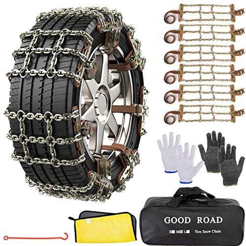 AutoChoice 6 Packs Car Snow Chains Emergency Anti Slip Tire Chains with Thickened Manganese Steel for Truck SUV in Snow, Ice, Sand and Mud(Tire Width 195-235mm)