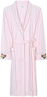 Modal Morning Gown, Women's Thin Bathrobe, mid-Length lace-up Robe, Lapel, lace-up, Pocket Design, Soft and Comfortable, (Color : Pink, Size : S)