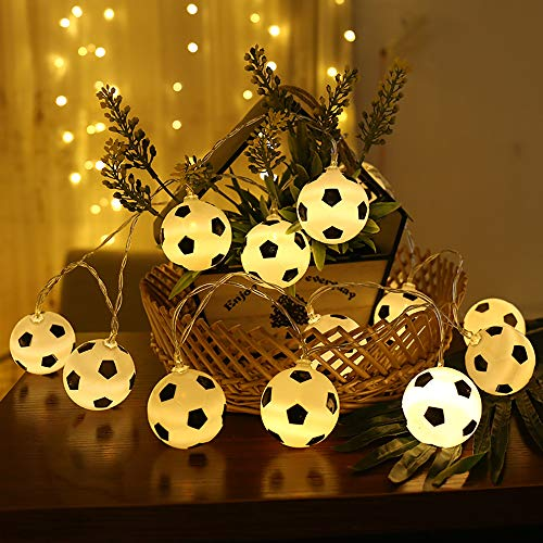 Football String Lights,MMTX 20 LED Soccer Shaped Rope Lamp,Funny String Lights Indoor Fairy Lights Football Home Decorations Light for 2018 Russia FIFA Football World Celebration.