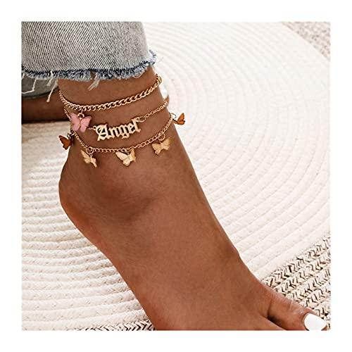 CQHUI Pulsera Bohemia del Anklet en la Pierna Moda Hembra Tobilleras Descalzo para Las Mujeres Cadena de piernas Joyería del pie de la Playa (Metal Color : Style D)