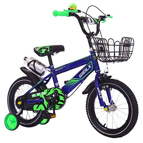 MUYU Kids Fiets met Front Basket & Afneembaar wiel 12(14,16,18) Inch Kids Fiets voor 3-12 Jaar Oude Meisjes (Met waterkoker)