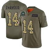 Maillots de Football américain Jets de New York # 14 Sam Darnold, Chemise d'entraînement en Maillot de Rugby 14# pour Homme Big Boy Portant des vêtements de Sport Respirants-ArmyGreen-M