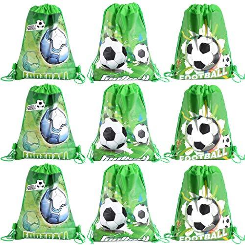 DreamJing 9 paquetes de bolsas de fútbol con cordón para fiestas de fútbol, mochilas con cordón para niños, niñas, niños, fiestas de cumpleaños, bolsas de gimnasio, bolsas de polietileno