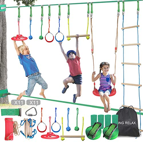 1500lbs Capacity Backyard Ninja Warrior Obstacle Course Winslow/&Ross Swing Gymnastic Rings Family Gym Training Body Building Equipment for Both Kids Parents 2pcs