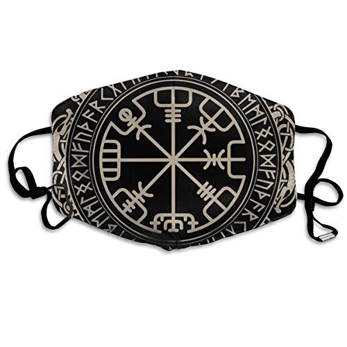 Schwarzes Keltisches Wikinger-Design Magisches Runen-Compess-Vegvisir im Kreis der nordischen Runen und Drachen-Tätowierung