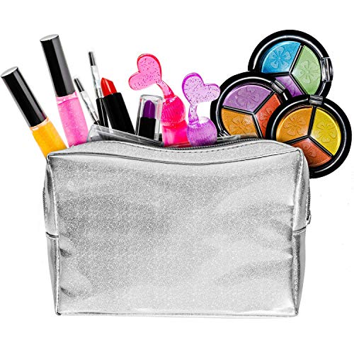 Kids Makeup Set for Girls with Glitter Cosmetics Bag - Real Washable Play Makeup Kit for Girls Teens - 2 Nail Polish 2 Lipstick 2 Lipgloss 3 Eyeshadow Mirror - All-in-one Girl Makeup Kits NON TOXIC