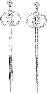 Double G moda damska litery kolczyki S925 srebrna igła proste lifting twarzy kolczyki kolczyki 7,2 x 1,78 cm 4,3 g