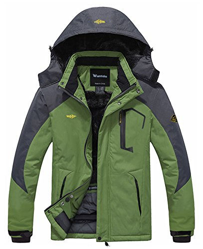 Wantdo Men's Waterproof Mountain Jacket Fleece Windproof Ski Jacket(US M)