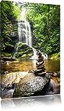 Zen Steine vor Wasserfall, Format: 120x80 auf Leinwand, XXL riesige Bilder fertig gerahmt mit Keilrahmen, Kunstdruck auf Wandbild mit Rahmen, günstiger als Gemälde oder Ölbild, kein Poster oder Plakat