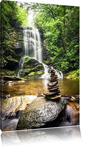 Zen Steine vor Wasserfall, Format: 60x40 auf Leinwand, XXL riesige Bilder fertig gerahmt mit Keilrahmen, Kunstdruck auf Wandbild mit Rahmen, günstiger als Gemälde oder Ölbild, kein Poster oder Plakat