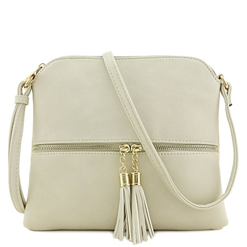 "10"" (W) x 9"" (H) x 0.5"" (D) Zipper closure & front zipper is a functional pocket Adjustable shoulder strap with 25.5"" drop Faux leather & gold tone hardware 1 zipper pocket & 1 open pocket inside"
