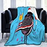Multi-Styles Funny Food Oreo Cookies Dessert Blanket Throw Fleece Flannel Lightweight Quilt Couch Bedspread Living Room All Seasons for Bed Sofa 60'X50' Blanket for Teens