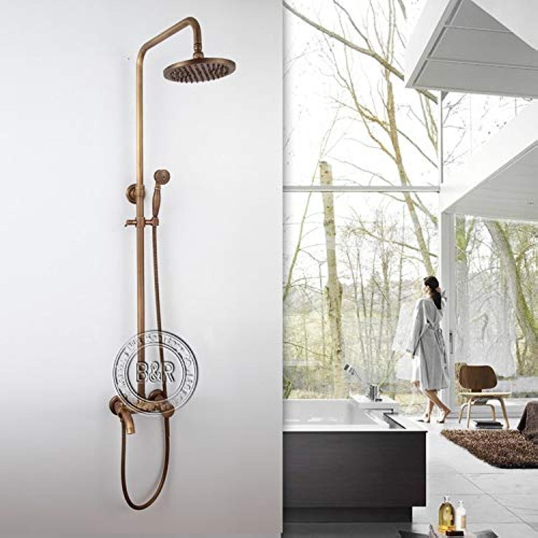Free shipping bronze shower Brass Shower Faucet Set Single Ceramic antique brass shower head HY-701,Weiß