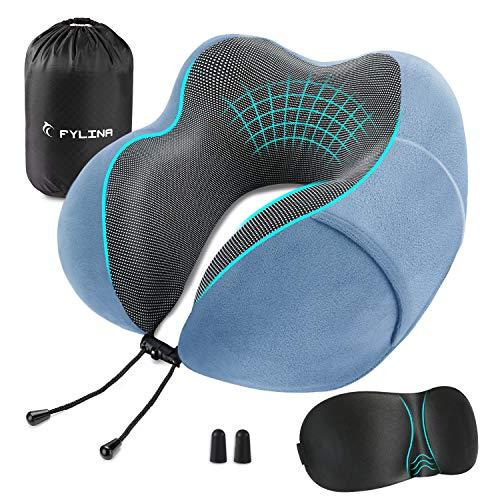 FYLINA Almohada de Viaje Viscoelástica de Espuma de Memoria, Cervical Orthopedic Pillow Almohada de Cuello para el Tren de avión Viajes con máscara de Ojos, Tapones y Bolsa de Transporte (Azul Claro)