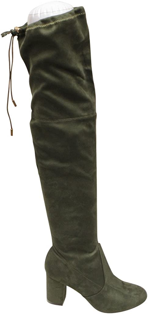 Natural-Breeze Bonita-02 Women's Block Heel Thigh high Leg-lengthening Soft Shaft tie Back Suede Boots
