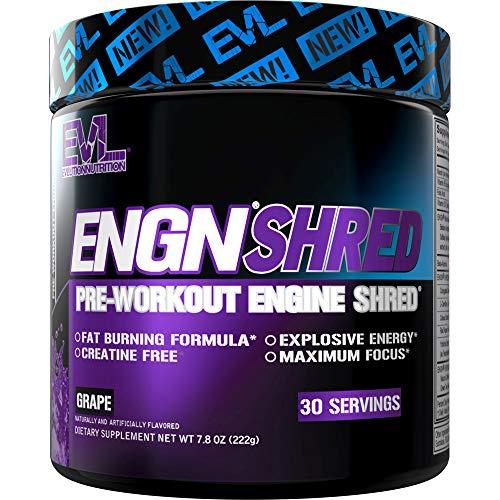 Evlution Nutrition ENGN Shred Pre Workout Powder, Energy, 30 Servings (Grape)