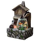 Fuente de interior Fish Tank transparente y antiguo Cottage Fuente de la cascada de agua de mesa cuentan con una decoración interior acuario humidificador Relaxesion fuente de escritorio decorativo Ca