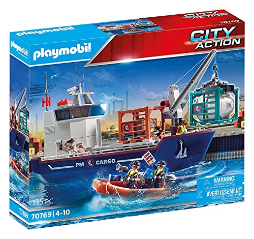 PLAYMOBIL City Action 70769 Großes Containerschiff mit Zollboot und Verladekran (360° drehbar) zum einfachen Be- und Entladen inkl. Laderaum und 2 neuen Containern, schwimmfähig, ab 4 Jahren