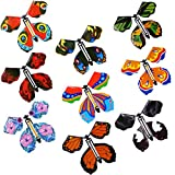 Shyflpopo 18Pcs Magic Flying Butterfly Wind Up Butterfly Rubber Band Powered for Surprise Wedding Birthday Gift Party Playing Classic Novelty Gag Toy