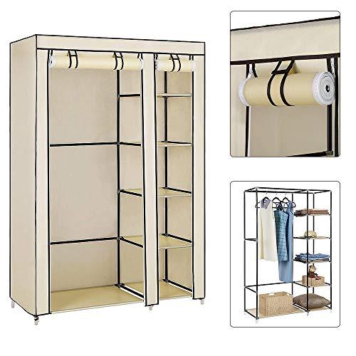 Flyelf DIY Falt Kleiderschrank Stoffschrank Steck Kleider Schrank Regal System Kleiderstange Garderobe