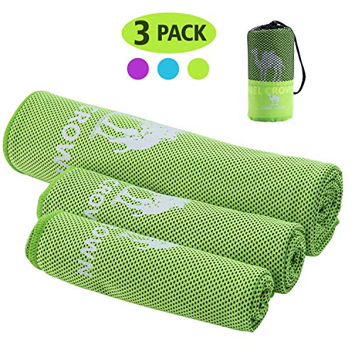 CAMEL CROWN Cooling Towels for Neck 3 Pack - Ice Towel Neck Wrap Chilly Cool Towel for Athlete Men Women Youth Kids Yoga Outdoor Golf Running Hiking Camping Towels