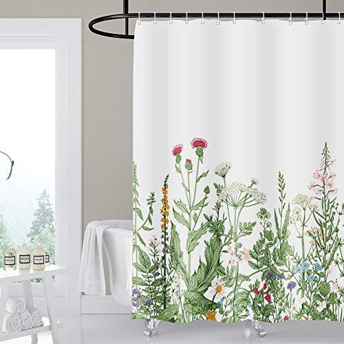 Artscope Duschvorhänge, Duschvorhang Anti-Schimmel, Badvorhang Wasserdicht Antibakteriell Duschvorhang aus Polyester Badezimmer Gardinen mit 12 Duschvorhangringen, 180x180 cm (Blumenblüte)