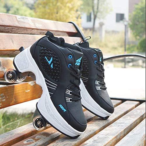 Wedsf Quad Skate rolschaatsen, 2 in 1, verstelbare multifunctionele deformatie, schoenen, volwassenen, loopschoenen, sneakers, turnschoenen, wieltjes, outdoor sportschoenen, maat 39