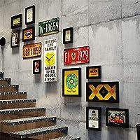 YXZQクリエイティブ階段フォトウォールライセンスプレートミックスアンドマッチコラージュフォトフレームレトロロフトスタイルラージマルチフレームウォールセットテーマレストランホームなどの装飾的な壁時計付き