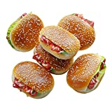 6 Pieces Fake Hamburger for Display with a Magnet, Artificial Beef Bread Play Food, Perfect for Kids Pretend Bakery Party, Birthday Realistic Foods Decorations (Long Hamburger)