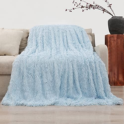 Manta Pelo, Manta Peluda Largo Mullida Súper Suaves y Cálidas, Manta Sofa PV y Franela de Doble Cara, Manta para Sofa, Cama, 160x200cm, Azul Claro