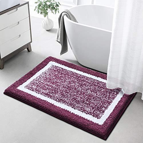 Color&Geometry バスマット 玄関マット 吸水 速乾 足ふきマット 滑り止め付 丸洗える お風呂 ドア ふわふわ(パープル、50×75)