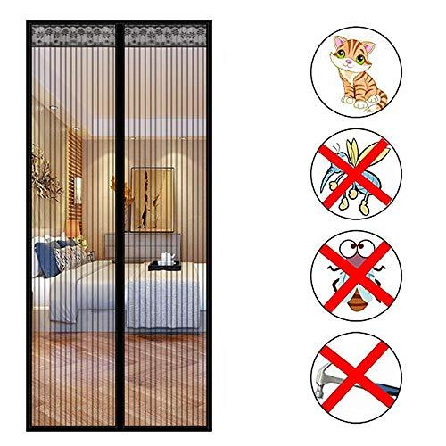 Magnetisch muggennet, elektromagnetische vliegengaas, deur, balkon, woonkamer, terrasdeur, sluit automatisch het muggennet af zonder dubbelzijdig plakband. 180x240cm(70x94inch) Zwart