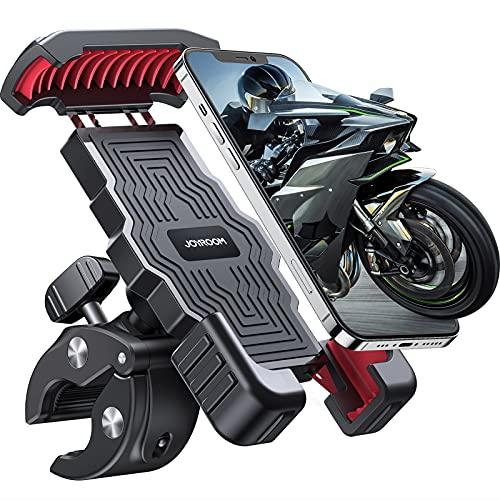 "Motorcycle Phone Mount, JOYROOM Bicycle Phone Holder, Universal Mountain/Road Bike Handlebar, Bike Phone Mount, Flexible Adjustable Angle, Anti-Slip Shockproof, Compatible with 4.5""-6.8"" Smartphone"